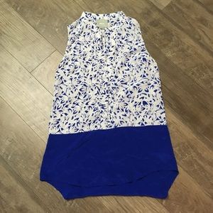 Anthropologie Maeve Floral Blue White Silk Top